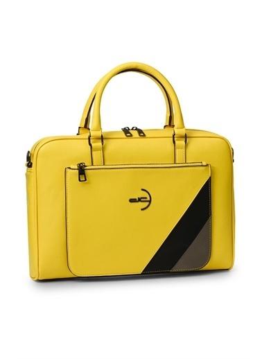 Deri Company Deri Company 116001 Basic Garni Düz Desen Logolu Erkek Evrak Çantası Sarı